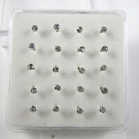 Wholesale Lots 20 Pcs Clear Crystal Bar Bone Rings 925 Solid Silver Nose Stud