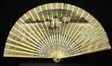 Eventail circa 1900 chez Goosens frère & soeur Fan 风 Grues wading bird échassier