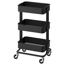 New Raskog Home Kitchen Storage Rolling Utility Cart - Black Powder Coated Steel