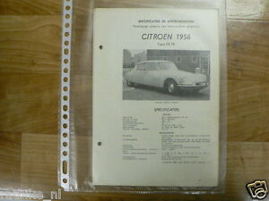 C10-CITROEN TYPE DS19 1956 -TECHNICAL INFO VINTAGE CAR SNOEK