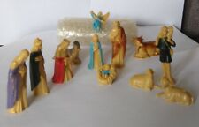 Vintage miniature nativity set | 12 pieces |  plastic
