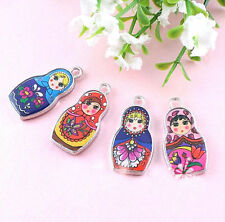 10Pcs Cute Enamel Russian Doll Charms Pendants Necklace Jewelry Finding Craft