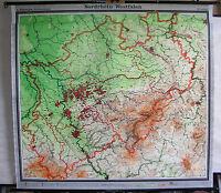 Schulwandkarte Nordrhein-Westfalen 1963 193x177cm vintage wall map card Duisburg