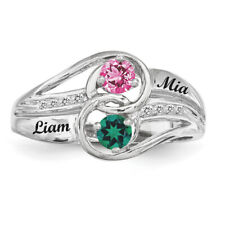 Twirling Ring Sterling Silver Couples Birthstones Ring, Promise ring collection.