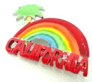 VINTAGE 1970s BROOCH LAPEL PIN CALIFORNIA RAINBOW PALM SOUVENIR PAINTED METAL