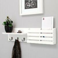Wall Mount Floating Display Shelf Entryway Coat Rack Keys Mail Holder w/ 3 Hooks