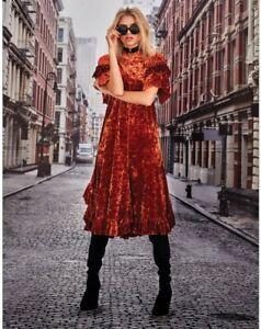 TRELISE COOPER Drape Of My Heart Crushed Valvet Burnt Orange Midi Dress Sz XL