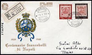 Repubblica, FDC - Centenario francobolli di Napoli, 04/10/1958