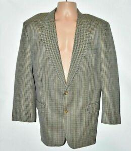 Men's Vintage DAKS Beige Brown Check 100% Wool Blazer Jacket L Pit To Pit 22in