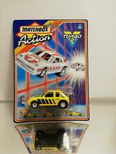 Matchbox Action Turbo 2 Peugeot 205 yellow 1987 in the original packaging