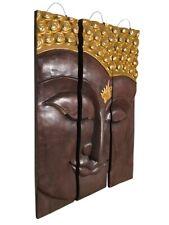 BUDDHA 3-TLG. WANDRELIEF WANDBILD RELIEF HOLZ NEU ASIEN MÖBEL THAILAND 91x60 BG