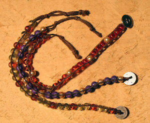 Three Bracelets ~ Multi-Pack #B4 ~ Purple, Metallic Golden Pearl, Orange Beads