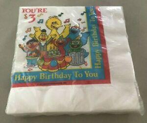 SESAME STREET Big Bird You're 3 Happy Birthday To You Lunchee Napkins 20/pk NEW