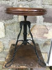 Antique Twisted Wrought Iron Base Industrial Piano Stool Vintage Ice Cream