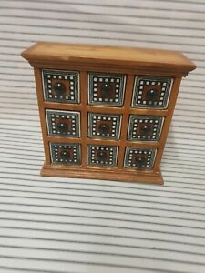 Vintage Wooden Chest Cabinet 9 Ceramic Drawers