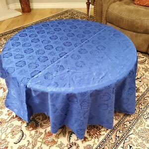 """Royal Blue Satin Jacquard Hanukah Menorah Dreidel Star Round Tablecloth 69"""""""
