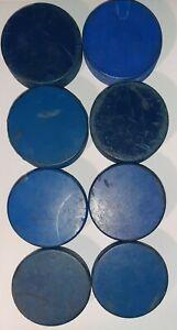 Lot Of 8 Used Blue Practice Hockey Pucks Misc Brands, In Glas Co, Rubena, Etc.