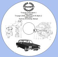 Triumph 2000 Mk.1 '63-'69, 2000,2500 & 2.5 PI '69-'77 Factory Workshop Manual