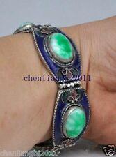 China's Tibet dynasty palace cloisonne silver inlaid jade bracelet