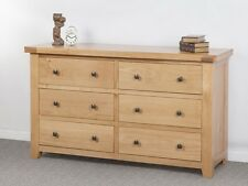 Devonshire Oak 6 Drawer Wide Chest Of Drawers Solid Oak Fully Assembled