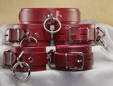 Lockable Red Leather Wrist cuffs, Ankle Cuffs + Collar 5pc set hand made in USA