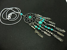 A LOVELY   DREAMCATCHER TURQUOISE & TIBETAN SILVER  FEATHER  NECKLACE. NEW.