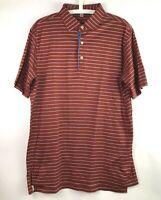 Peter Millar Mens Size Medium Striped Golf Polo Shirt Short Sleeve Three Buttons