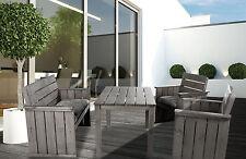 7tlg Essgruppe Sitzgruppe Massivholz grau braun Bank Sessel Gartenmöbel Set NEU