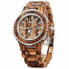 BEWELL ZS Zebra Wooden Watch Men Quartz with Luminous Hands 30M Water Resistance