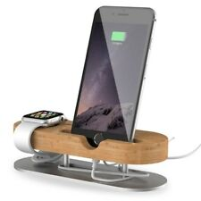STATION DE CHARGEMENT BAMBOU BOIS TABLE SUPPORT POUR APPLE WATCH iPhone 7 8