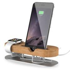 Docking Station Ladestation Bambus Holz Tisch Ständer für Apple Watch iPhone 7 8