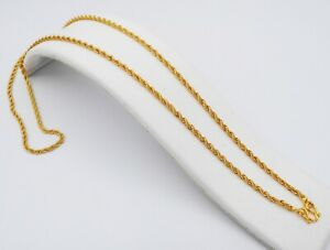 """Rope Chain 22K 23K 24K Thai Baht Gold Filled Yellow GP Necklace Jewelry 24"""" 3 MM"""