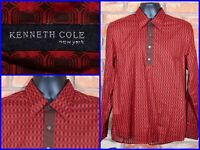 Kenneth Cole Red Geometric All Over Print Polo Pullover Tunic Dress Shirt Mens M