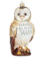 Barn Owl Polish Mouth Blown Glass Christmas Ornament  Bird Tree Decoration