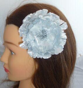 Stunning Large Metallic Silver Fabric Flower Hair Clip