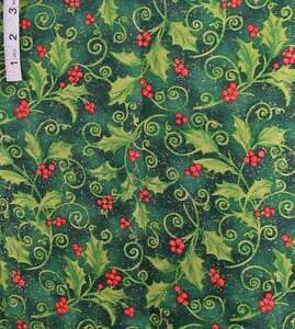 1+ yd Holiday Green Mistletoe,Red Berries 'Holly Scroll' Cotton Fabric,Springs