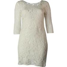 NEW Womens Stunning Ralph Lauren White 3/4 Sleeve Lace Casual Party Dress AU 6-8