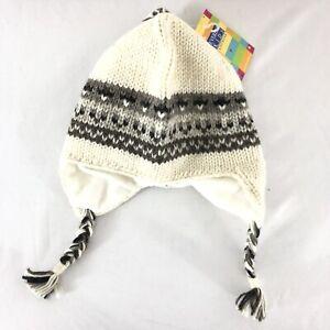 Everest Kids Hat Ear Flaps Wool Fleece Lined Knit Ivory Gray One Size