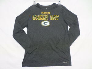NFL Dri Tek Green Bay Packers Long Sleeve Gray Athletic Shirt Boy's Size L 14-16