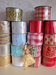 , Gisela Graham Christmas Ribbon Wide Wired Edge All Lengths Gift Wrap Present