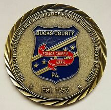 Bucks County Pennsylvania Police Chiefs Assn. Est. 1952 3D PA State Seal On Back