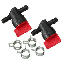 """2pcs 1/4"""" In Line Fuel Gas Filter Shut Cut Off Valve Clamp For Briggs & Stratton"""
