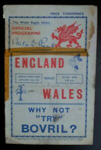 1938 England v Wales Rugby Union Match 15th January Very RARE