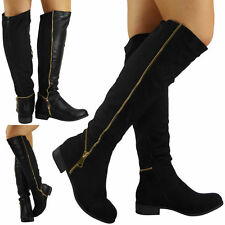 Zip Knee High Boots Faux Suede Cuban Heel Shoes for Women