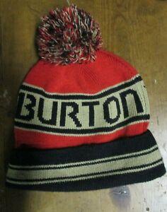 MENS BURTON POM POM HAT--SKI - SNOWBOARD-BLACK/KHAKI/BURNT ORANGE
