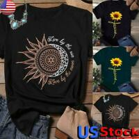 Women's Short Sleeve Sunflower Print Tunic Tops Ladies Casual Tee Blouse T Shirt