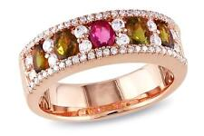 Ruby, Citrine and clear CZ ring in Pink Rhodium plated Sterling Silver  Size 7