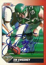 1991 Score JIM SWEENEY Signed Card Lambeau Field ny jets PITT PANTHERS