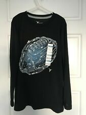 Old Navy Active Go Dry Gray Long Sleeve Lightweight Black Tee Top Size M (8)