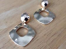 Gold Drop Dangle Hammered Textured Stud Earrings Women Chic Fashion Jewelry